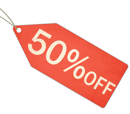 A red, and white textured Fifty Percent Off Sale Red Tag and String making a great concept.