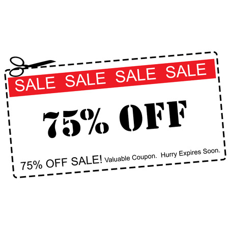 A red, white and black Seventy Five Percent Off Sale Coupon making a great concept.