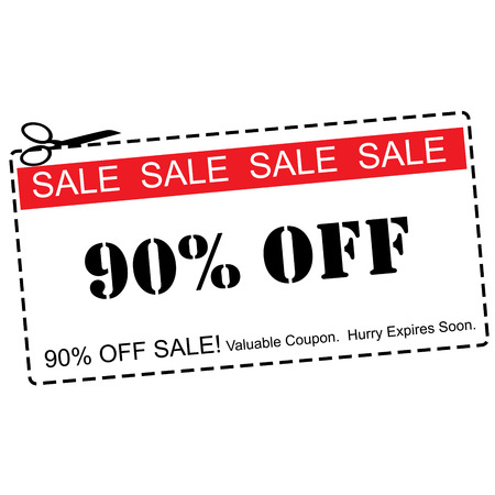 expires: A red, white and black Ninety Percent Off Sale Coupon making a great concept.