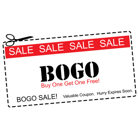 1: A red, white and black BOGO Buy One Get ne Free Sale Coupon making a great concept.