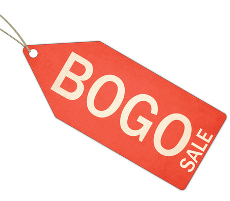 A red, and white textured BOGO Buy One Get One free Red Tag and String making a great concept.
