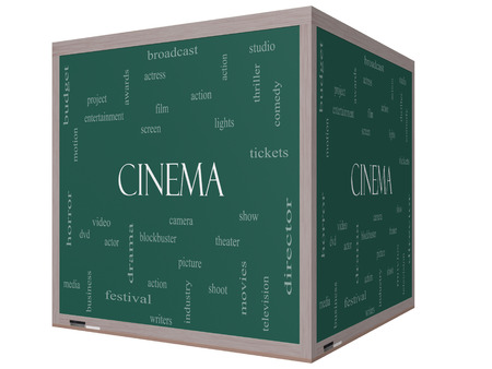 blockbuster: Cinema Word Cloud Concept on a 3D cube Blackboard with great terms such as camera, movie, show, video and more. Stock Photo