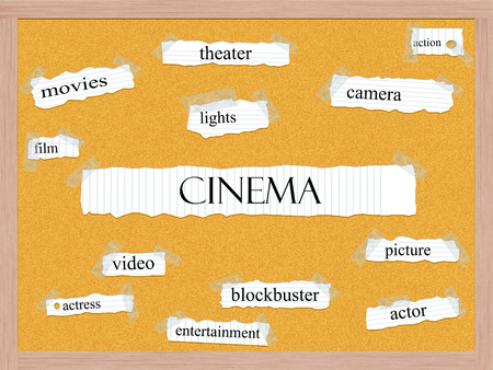 Cinema Corkboard Word Concept with great terms such as picture, actor, blockbuster and more.