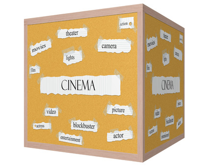 Cinema 3D cube Corkboard Word Concept with great terms such as picture, actor, blockbuster and more.