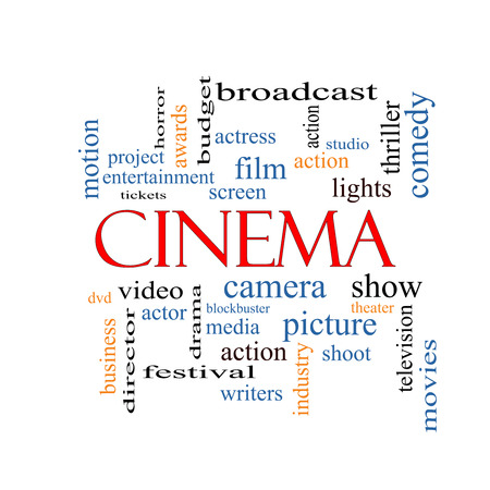 blockbuster: Cinema Word Cloud Concept with great terms such as camera, movie, show, video and more. Stock Photo