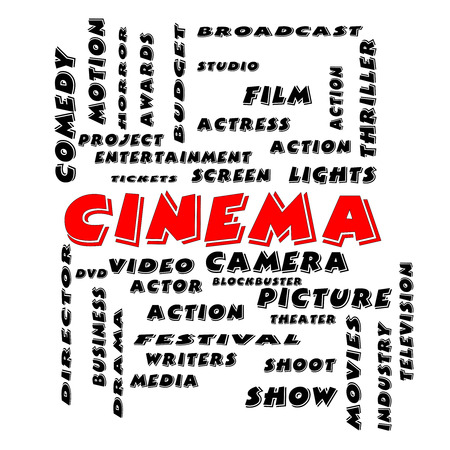 blockbuster: Cinema Word Cloud Concept in Bold Letters with great terms such as camera, movie, show, video and more.
