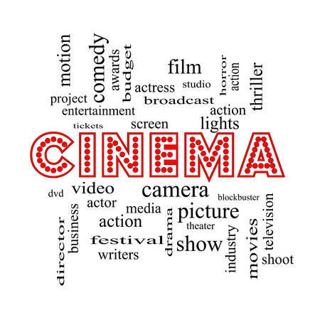 Cinema Word Cloud Concept in neon lights with great terms such as camera, movie, show, video and more. photo