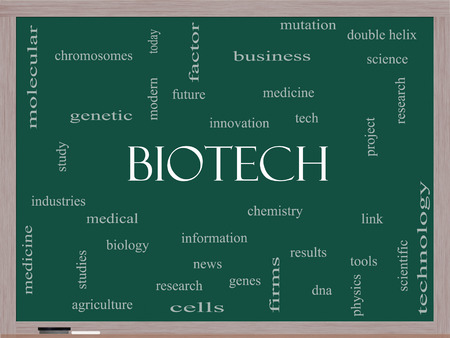 technolgy: Biotech Word Cloud Concept on a Blackboard with great terms such as medical, technolgy, dna and more. Stock Photo