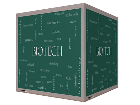 technolgy: Biotech Word Cloud Concept on a 3D cube Blackboard with great terms such as medical, technolgy, dna and more.