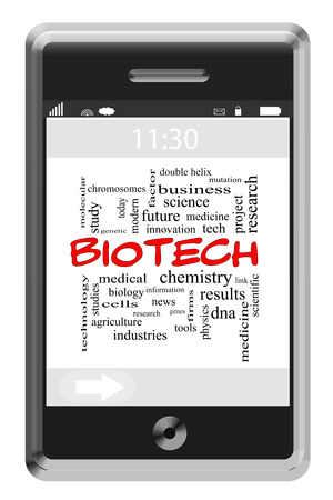 Biotech Word Cloud Concept of Touchscreen Phone with great terms such as medical, dna, science and more. Banco de Imagens
