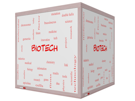 technolgy: Biotech Word Cloud Concept on a 3D cube Whiteboard with great terms such as medical, technolgy, dna and more.