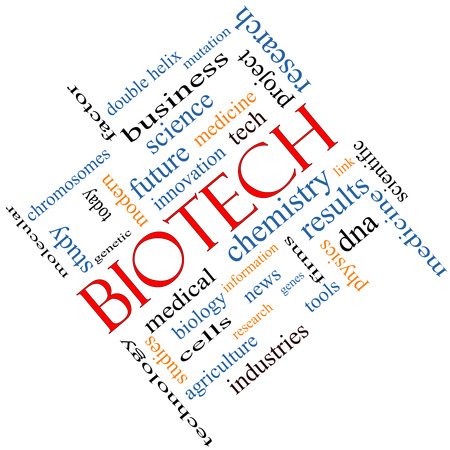 technolgy: Biotech Word Cloud Concept angled with great terms such as medical, technolgy, dna and more. Stock Photo
