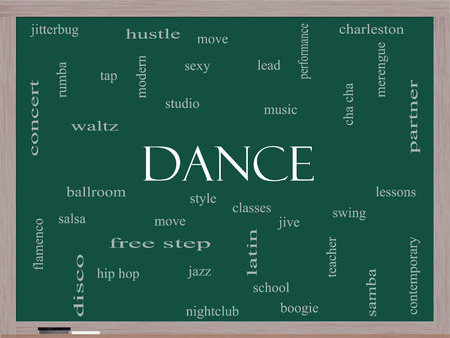Dance Word Cloud Concept on a Blackboard with great terms such as music, classes, ballroom and more. photo