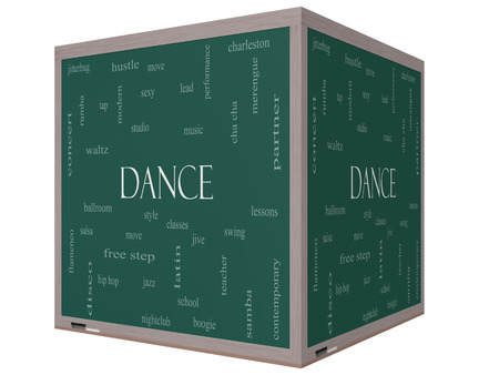 Dance Word Cloud Concept on a 3D cube Blackboard with great terms such as music, classes, ballroom and more. photo
