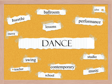 Dance Corkboard Word Concept with great terms such as salsa, studio, school and more.