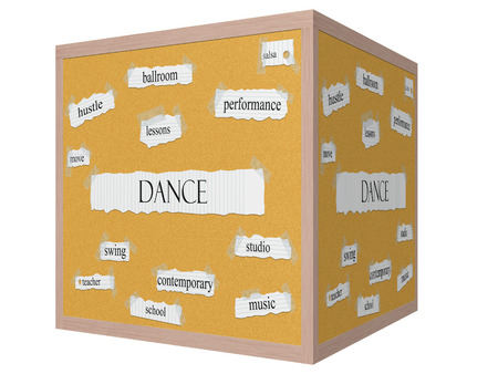 Dance 3D cube Corkboard Word Concept with great terms such as salsa, studio, school and more.