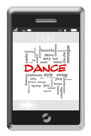 Dance Word Cloud Concept of Touchscreen Phone with great terms such as studio, lessons, ballroom and more. photo