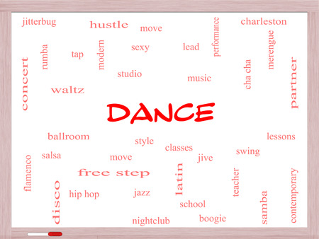 Dance Word Cloud Concept on a Whiteboard with great terms such as music, classes, ballroom and more. photo