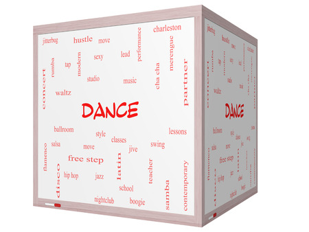 Dance Word Cloud Concept on a 3D cube Whiteboard with great terms such as music, classes, ballroom and more. photo