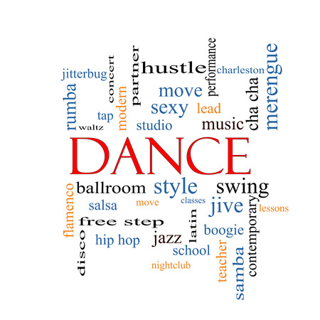 Dance Word Cloud Concept with great terms such as music, classes, ballroom and more. photo
