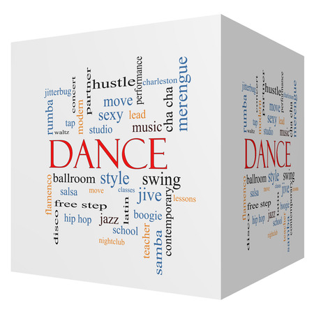 Dance 3D cube Word Cloud Concept with great terms such as music, classes, ballroom and more. photo