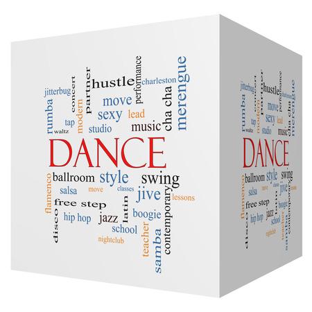 Danse 3D cube Word Cloud Concept avec des termes tels que de la musique, classes, salle de bal et plus. Banque d'images - 26535053