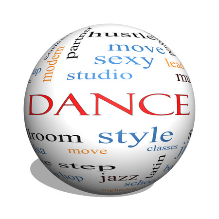 Dance 3D sphere Word Cloud Concept with great terms such as music, classes, ballroom and more. photo
