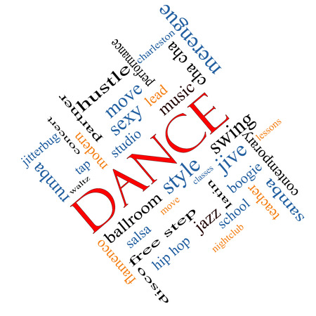Dance Word Cloud Concept angled with great terms such as music, classes, ballroom and more. photo