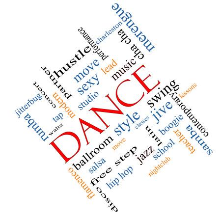 Danse Word Cloud Concept incliné avec des termes tels que de la musique, classes, salle de bal et plus. Banque d'images - 26535056