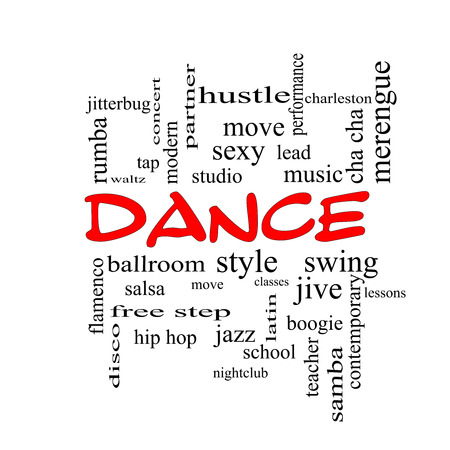 Dance Word Cloud Concept in red caps with great terms such as music, classes, ballroom and more.