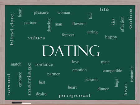 lustful: Dating Word Cloud Concept on a Blackboard with great terms such as romance, mate, love and more. Stock Photo