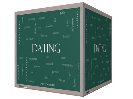 Dating Word Cloud Concept on a 3D cube Blackboard with great terms such as romance, mate, love and more. photo