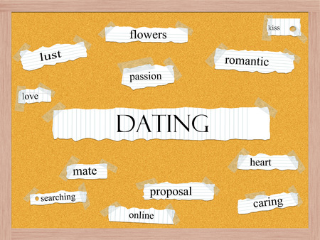 finding a mate: Dating Corkboard Word Concept with great terms such as flowers, kiss, passion and more. Stock Photo