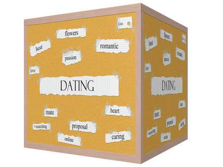 finding a mate: Dating 3D cube Corkboard Word Concept with great terms such as flowers, kiss, passion and more.
