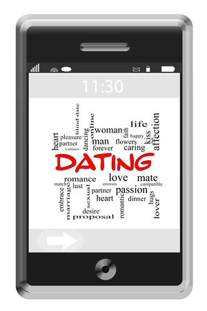 Dating Word Cloud Concept of Touchscreen Phone with great terms such as love, romance, mate and more. photo