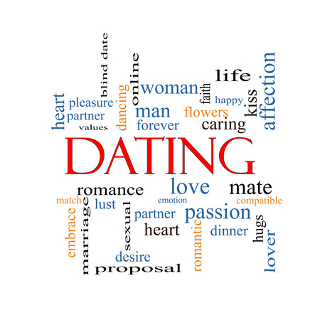 Dating Word Cloud Concept with great terms such as romance, mate, love and more. photo