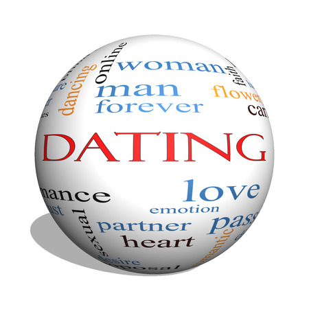 Dating 3D sphere Word Cloud Concept with great terms such as romance, mate, love and more. photo