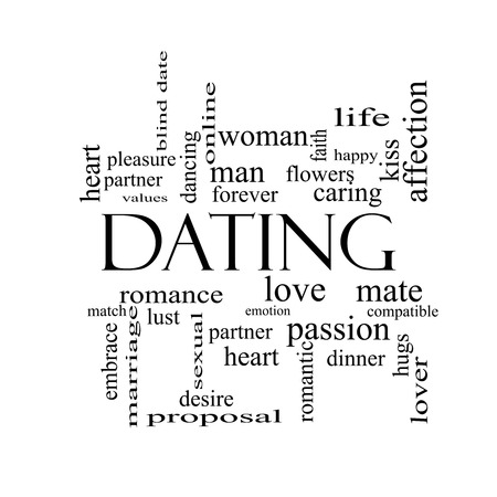 Dating Word Cloud Concept in black and white with great terms such as romance, mate, love and more. photo