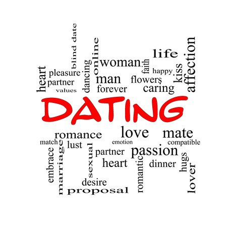 Dating Word Cloud Concept in red caps with great terms such as romance, mate, love and more. photo