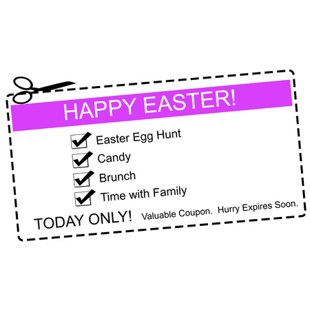 A purple, white and black Happy Easter Coupon making a great concept with terms such as egg hunt, candy, family and more. Banco de Imagens