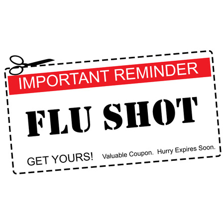 expires: A red, white and black Flu Shot Reminder Coupon making a great concept.