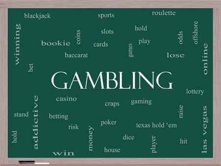 hold em: Gambling Word Cloud Concept on a Blackboard with great terms such as winning, odds, casino and more. Stock Photo