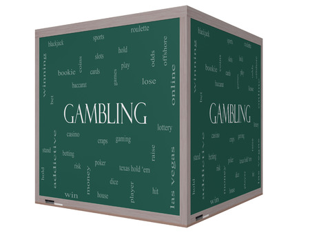 Gambling Word Cloud Concept on a 3D cube Blackboard with great terms such as winning, odds, casino and more.