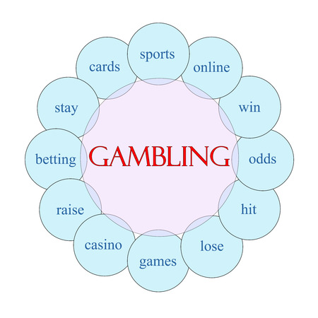 Gambling concept circular diagram in pink and blue with great terms such as sports, online, casino and more. Banco de Imagens