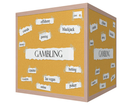 Gambling 3D cube Corkboard Word Concept with great terms such as slots, blackjack, cards and more. Reklamní fotografie