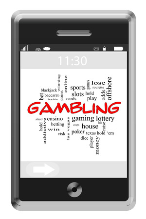 Gambling Word Cloud Concept of Touchscreen Phone with great terms such as slots, poker, cards and more. Banco de Imagens