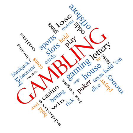 Gambling Word Cloud Concept angled with great terms such as winning, odds, casino and more. Stockfoto