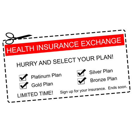 expires: A red, white and black Health Insurance Exchange Coupon making a great concept with terms such as platinum, gold, silver and more.