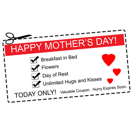 expires: A red, white and black Happy Mothers Day Coupon making a great concept with terms such as breakfast in bed, hugs, kisses and more.