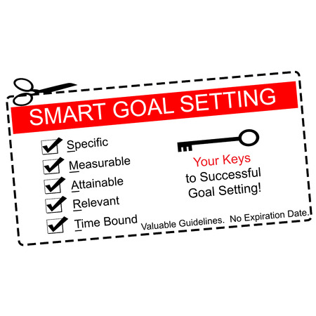 specific: A red, white and black Smart Goals coupon making a great concept with terms such as specific, measurable, attainable and more.